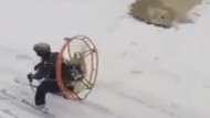 Çılgın kayakçı sosyal medyayı salladı