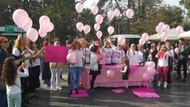 Pembe balonlarla meme kanserine dikkat çektiler