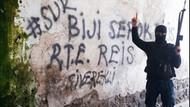 Sur duvarında Biji Serok RTE sloganı