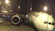 THY uçağına yükleme aracı çarptı!