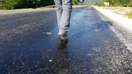 Düzce'de sıcak hava asfalt eritti