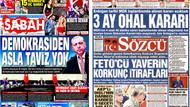 21 Temmuz 2016 gazete manşetleri