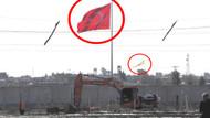 Suriye sınırına dev bayrak asıldı
