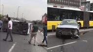 Otomobil metrobüs yoluna girdi