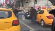Osmanbey karıştı! Taksiciler arasında yolcu alma kavgası kamerada