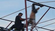 Elektrik akımına kapılan işçi tellerde asılı kaldı