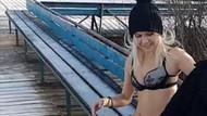 Donmuş göle dalış yapmak isteyen Rus kadına büyük sürpriz