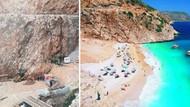 Kaş'ın dünyaca ünlü Kaputaş Plajı'na kepçe girdi