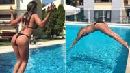 Şarkıcı Hatice ve Seda Akgül'ün bikinili havuz pozları savaşı