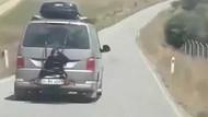 Pes dedirten görüntü! Kadını arabanın arkasına bağladılar