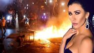 Ünlü oyuncu Nadine Al Rassi sokakta lastik yakıp eyleme destek verdi