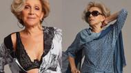 79 yaşındaki Schargel tasarladığı iç çamaşırların modelliğini yapıyor