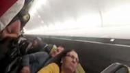 Fırtına nedeniyle pisti pas geçen uçaktaki panik anları