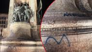 Taksim Cumhuriyet Anıtı'na sprey boyayla yazı yazdılar