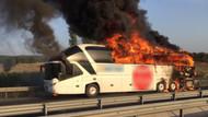 Manisa'da yolcu otobüsü yandı