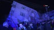 Elazığ depreminde bina yan yattı