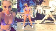 Britney Spears'den bikinili yoga