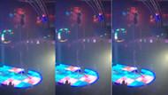 Striptizcinin direk dansı yaparken korkunç düşüş anı