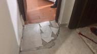Beş katlı binada korku dolu anlar! Bodrum katındaki dairenin zemini çöktü!