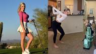 Paige Spiranac evde golf oynadı sosyal medyayı salladı