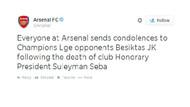 Arsenal Seba'ya başsağlığı diledi