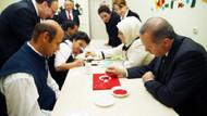 Erdoğan engelli çocuklarla resim yaptı