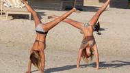 Sam Fairers plajda jimnastik yaptı