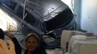 Arabasıyla hastanenin laboratuvarına daldı