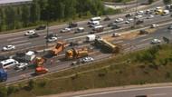 TEM trafiğine hafriyat kamyonu darbesi