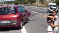 TEM'i kilitleyen kaza! Genç kız arabadan fırladı