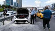 E-5'te Ferrari yandı, trafik karıştı