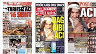 Gazetelerde 16 şehit acısı manşetlere sığmadı