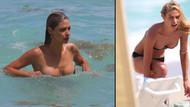 Bikinisini tutmaktan denize giremedi