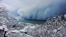 Kar fırtınası deniz üzerinden böyle geldi: İnanılmaz görüntüler