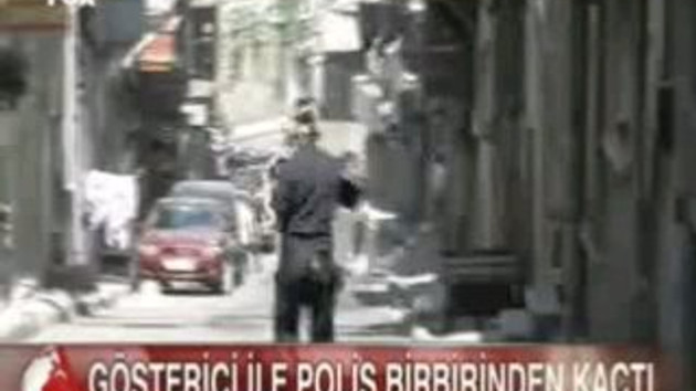 Polis ve gösterici birbirinden nasıl kaçtı!