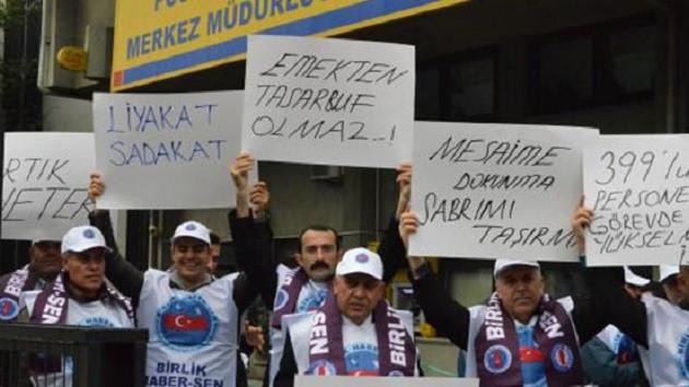 PTT taşeron işçilerinden eylem: İş eşit, ücret farklı