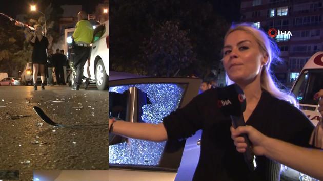 Kadın sürücü levyeyle indi, çarpıştığı arabanın camlarını patlattı