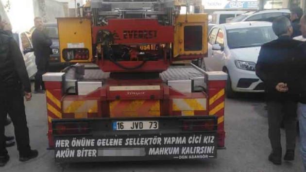 Cinsiyetçi kamyon arkası yazısına 5 bin lira ceza ve trafikten men
