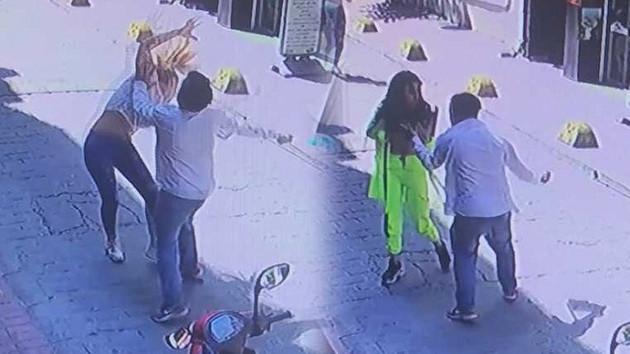 Taksim'de iki kadına tekme tokat dayak görüntüleri