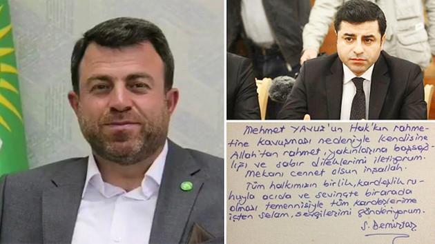 Demirtaş'tan Hüdapar'a dikkat çeken taziye mesajı
