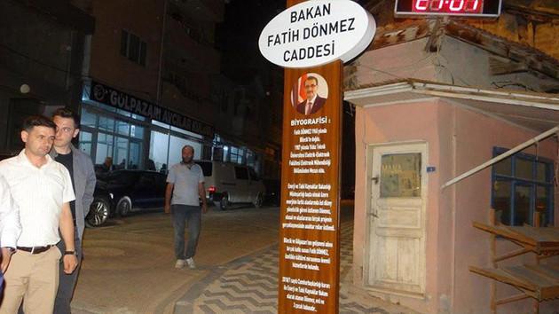 18 yıllık caddenin adı Bakan Fatih Dönmez yapıldı