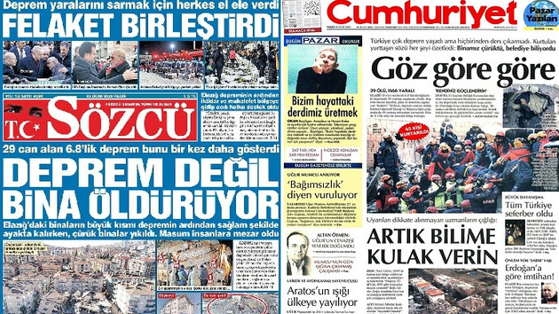 Elazığ depremi gazete manşetlerinde! 26 Ocak 2020 gazete manşetleri