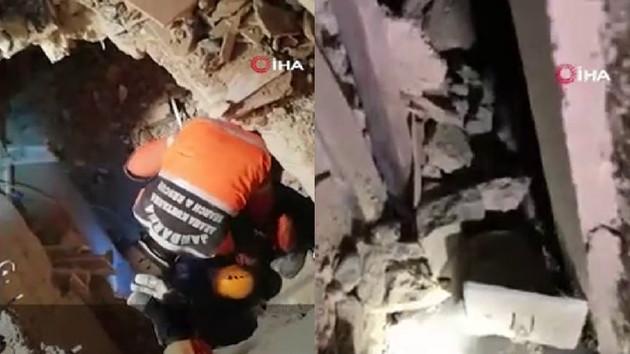 Anne ve 2,5 yaşındaki çocuğu enkazdan böyle kurtarıldı