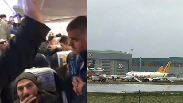 Sabiha Gökçen Havalimanı'nda yolcu uçağı pistten çıktı yolcular panik yaşadı!