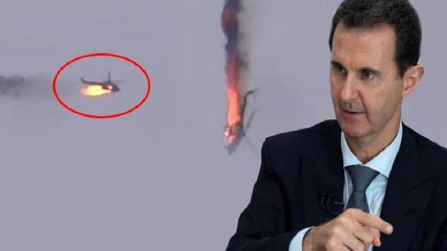 Suriye ordusunun helikopteri böyle düşürüldü