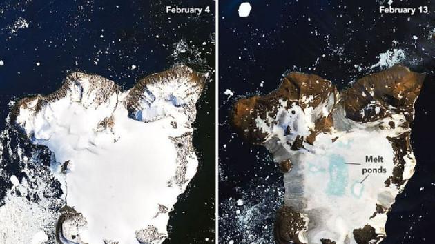 NASA Antarktika'da buzul erimesinin yarattığı etkiyi uzaydan görüntüledi