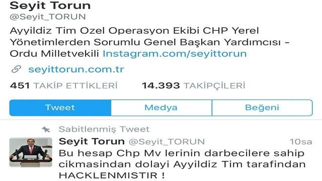 CHP Genel Başkan Yardımcısı Seyit Torun'un Twitter hesabı hacklendi!