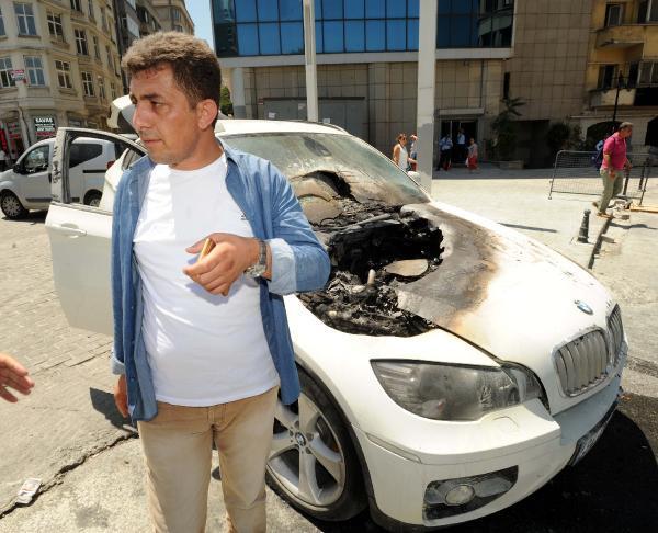 Taksim'de lüks cip herkesin şaşkın bakışları altında alev alev yandı
