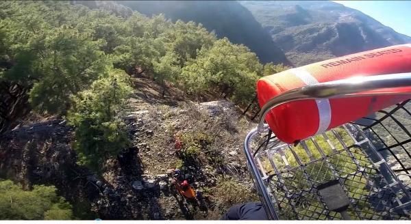 Dağda ayağı kırılan Ukraynalı kadını Sahil Güvenlik helikopteri kurtardı