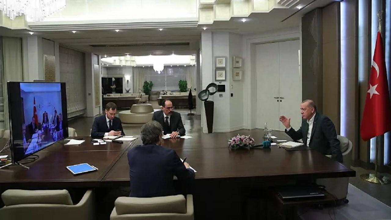 Erdoğan kabine toplantısını video konferansla yaptı
